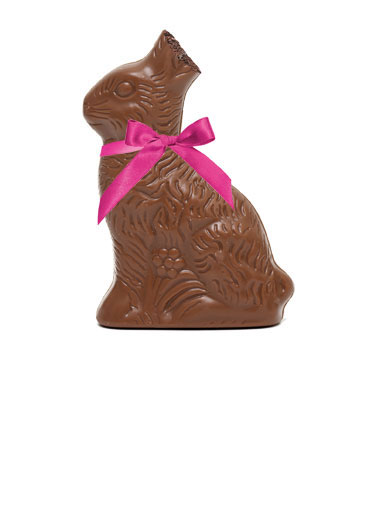 Ears to You Funny Chocolate Card  A picture of a chocolate easter bunny with its ears bit off. | easter chocolate easter eggs color bunny grass egg ears ear bite bit ribbon bow Easter's Here... Ears to you!