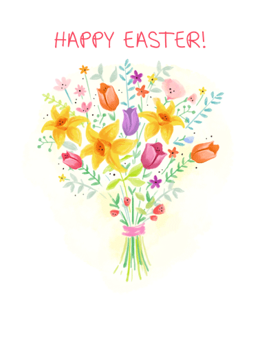 Easter Bouquet Thanks Funny Easter Card  Wish someone a Happy Easter by sending them a personalized greeting card! | Palm Sunday Jesus flowers bouquet sweet happiness friendship thinking of you  Wishing you a wonderful Easter!