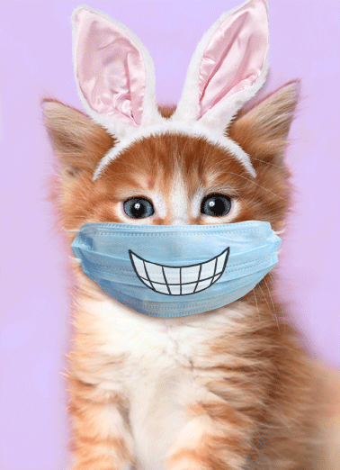 Easter Cat Smile Mask Funny Easter Card Cats Send someone a personalized greeting card to make sure they have a Happy Easter! | social distancing quarantine cat mask smile funny   Smile Easter is here!