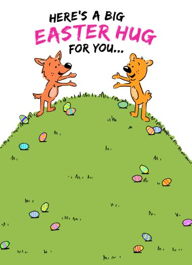 Easter Critters Hugging Funny Easter  Sweet An illustration of 2 cartoon critters on a hill covered with easter eggs positioned apart but looking like they are about to hug. | easter egg hill hug critter cartoon illustration big fox bear embrace social distancing quarantine covid virus pandemic corona ...from a safe distance of course.