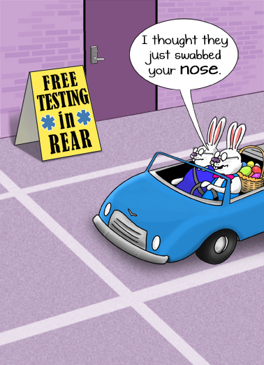 "Easter Testing Funny Easter Card Cartoons Send a wish with this fun ""Easter Bunnies Testing in Rear"" Easter card or Ecard to put a smile on someone's face today."