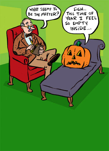 Funny Halloween Card  Jack goes to the Therapist | psychologist, pumpkin, couch, cartoon, hollow, empty, lol, funny, joke, comic, fall, patch, jack-o-lantern,