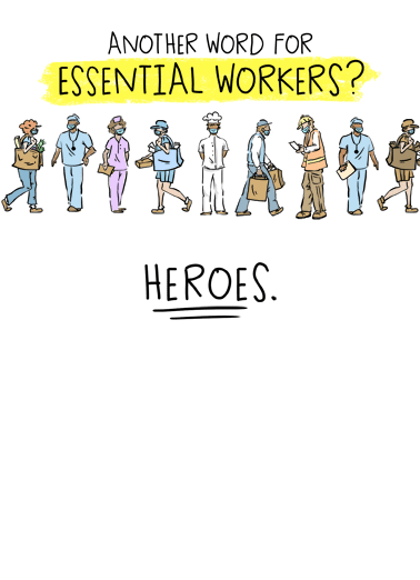 Essential Workers Funny Quarantine Card Sweet Salute the hero in your life by sending them a personalized greeting card for their birthday! | social distancing quarantine nurses dr drs doctor doctors nurse emt worker police cop officers construction mail delivery vet grocery store restaurant employee  You're a real hero in my book!