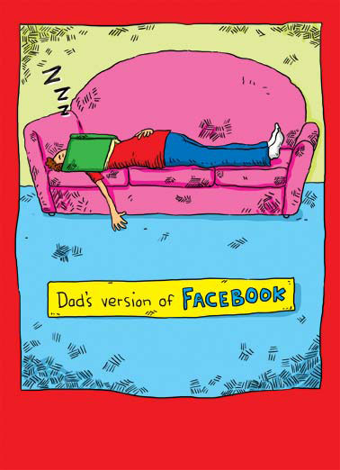 Facebook Funny Kevin  Cartoons Father lying on couch asleep with a book over his face. | Face book dad father father's day awesome cartoon illustration couch sofa nap sleep  face it, you're awesome!