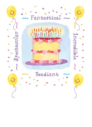 Fantastical Cake Funny One from the Heart Card  Fantastical Cake! | Cute, pretty, cake, amazing, bright, happy, silly, fun, awesome, birthday, day, huge, big, art, wash, painting Wishing you the biggest of smiles, The happiest of birthdays.