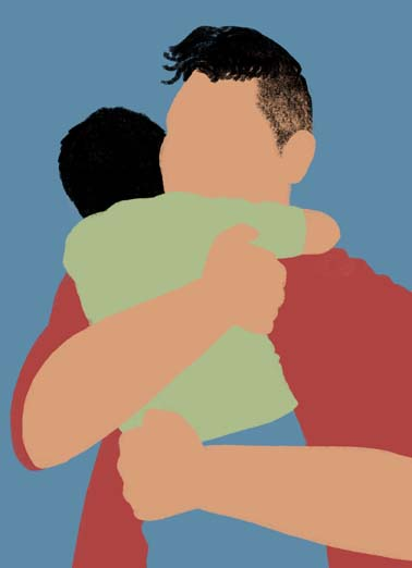 Latino Father's Day Hug Funny  Card  Say Happy Father's day with this heartfelt greeting card,  dad hugging child on sweet father's day card, send this heartfelt father's day card to the dad you love, Dad, I can't thank you enough, and I love you so much! Happy Father's Day