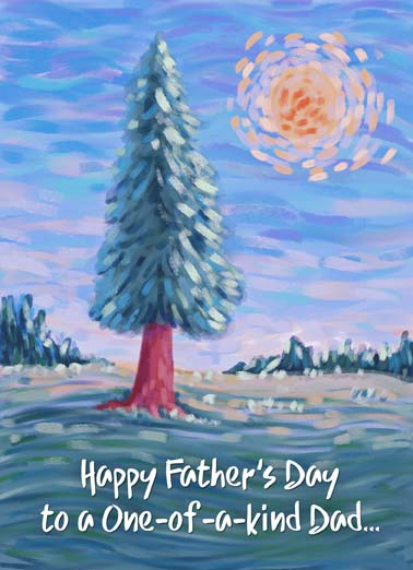 Belated Father's Day Tree Funny Father's Day Card  Happy Belated Father's Day to a one-of-a-kind dad, say happy belated father's day even a few days late with this heartfelt painting of a tree on a greeting card, late is still great when you send your dad a heartfelt father's day card,  As a dad, you stand out. Happy Belated Father's Day