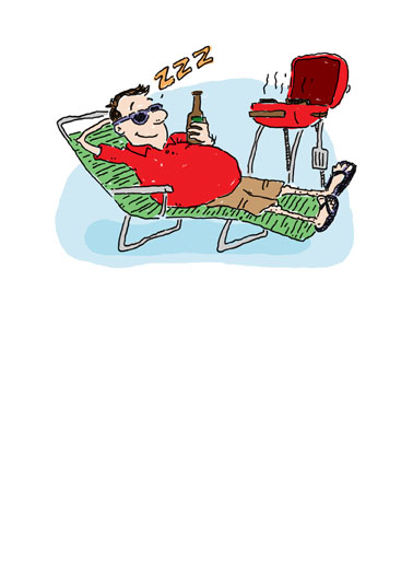 Fatherzzz Day Funny Father's Day Card  Send your Dad a Happy Father's Day with this funny greeting card. Perfect Father's Day card for dad, husband, or grandpa. Dad napping with a beer at the grill. | Funny Father's Day cartoon. Send Dad a Father's Day card. The perfect gift for the father who likes to grill and drink beer.  Happy Fatherzzz Day!