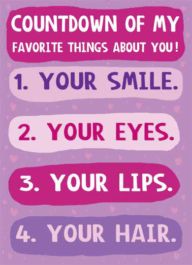 Favorite Things Funny For Her  Love A countdown of my favorite things about you on a greeting card|  5. YOU'RE EASY.