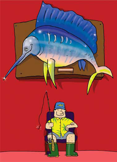 Fishing Dad Funny 5x7 greeting  Funny Animals Fisherman Dad Card | Fishing, Father's Day, Saltwater, Funny, Cute, Cartoon, Father's Day Wishes, Dad, Fisherman, LOL, cards for dads, Off the hook, Off da hook, Dad is quite a catch Hope your Father's Day is OFF-the-HOOK!