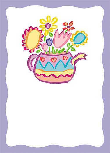 Funny Simply Cute Card  cartoon illustration flowers pot colorful color fancy cute fun,  Thank You!