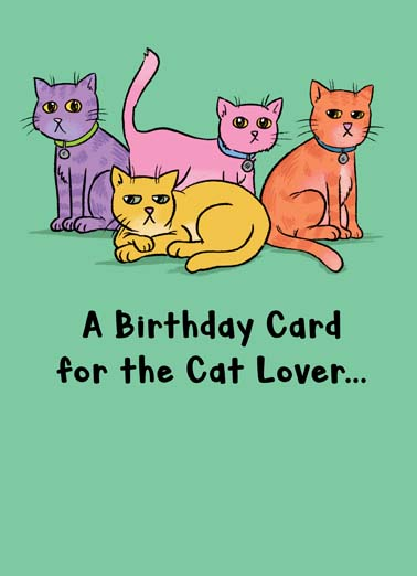 For the Cat Lover Funny For Any Time  Funny A dog gives the middle finger to all the cat-lovers on this funny Birthday card, a hilarious birthday card for the cat lover is actually for dog lovers,  (Dog giving the middle finger.)