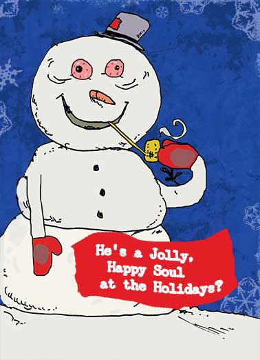 Frosty Smoking Funny Cartoons Card Christmas