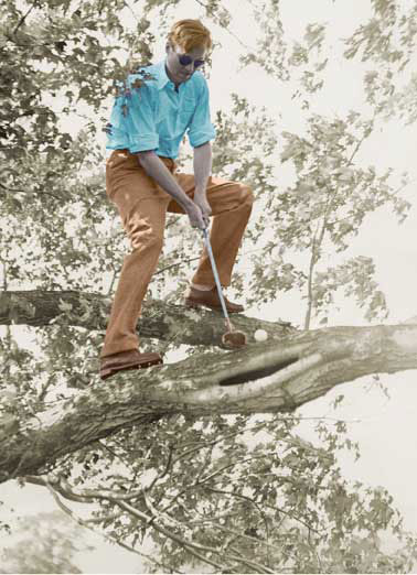 Funny Vintage Card  Vintage photo of golfer up in a tree | retro, insta, tinted, old, golf, tee, club, driver, put, ball, dad, daddy, father, da, day, greeting, card, pa, papa, funny, ha, haha, lol, lolol, meme, rofl, Happy Father's Day to a Dad who takes Golf to a whole new level!