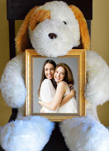 Funny Miss You Card  Picture of a stuffed animal holding onto a frame | good friends hold onto each other through the years stuffed animal dog bear hug chair sit add photo, Good Friends hold onto each other through the years.