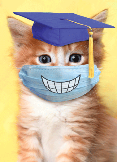 Grad Cat Smile Mask Funny Graduation  Cats   Grad, you should have a big smile on your face!
