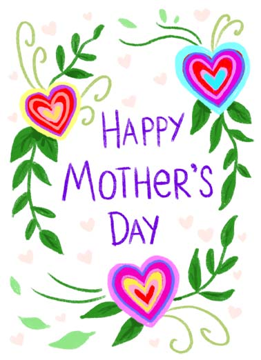 HMD Funny Mother's Day  For Any Mom Flowers in the shape of hearts around the words 'Happy Mother's Day'. | heart flower flowers mother mom mother's day love filled  Wishing you a heart-filled, love-filled day!