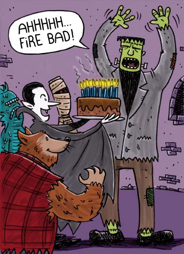 Halloween Birthday Funny Halloween  Funny The perfect greeting card for someone with a birthday on halloween, say happy birthday on halloween with this funny greeting card featuring universal horror monsters, send this hilarious halloween birthday card wtih frankenstein dracula and other universal horror monsters, free postage on this greeting card for someone with a halloween birthday Happy Halloween Birthday