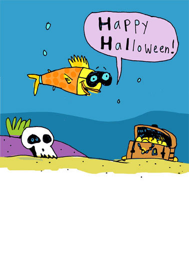 Funny Halloween Card  Just a little Halloween Cod | Cute, cartoon, fish, funny, mask, halloween, lol,