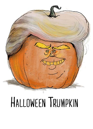 Halloween Trumpkin Funny Halloween  President Donald Trump Trump Pumpkin | Funny, orange, mushy, political, presidential, wig, head, smash, lol, cartoon, comic, carving, halloween, spooky, scary, caricature, trump, donald, trumpy, gourd, fun, original, artwork Huuuugest wishes for a very Happy Halloween!