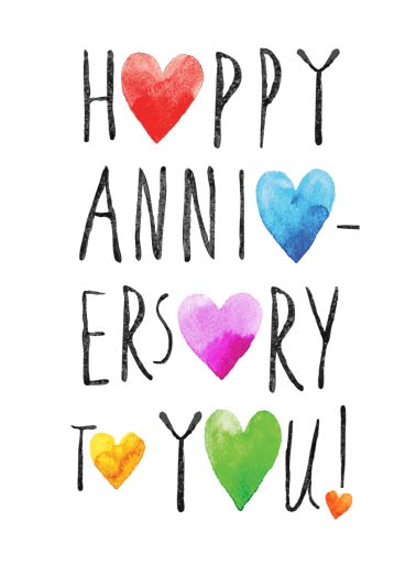 Happy Anniversary Hearts Funny Lettering Card  Artistic Anniversary Card | anniversary, lettering, edgy, watercolor, painting, chalkboard, ink, wash, wishes, hearts, loving, stacked, esty, artisan, craft, soft, traditional, text, typography, interesting  Just a heartfelt wish for a Happy Anniversary.