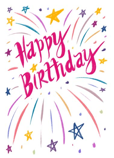 Happy Birthday Burst Funny Lettering Card    Hope it's spectacular in every way!