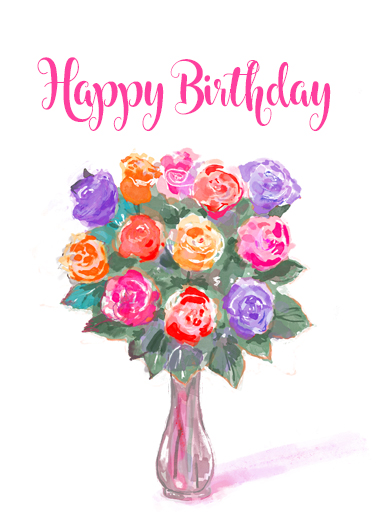 "Happy Birthday Rose Bouquet Funny Birthday Card  Send a wish with this sweet ""Rose Bouquet"" Birthday card or Ecard to put a smile on someone's face today."