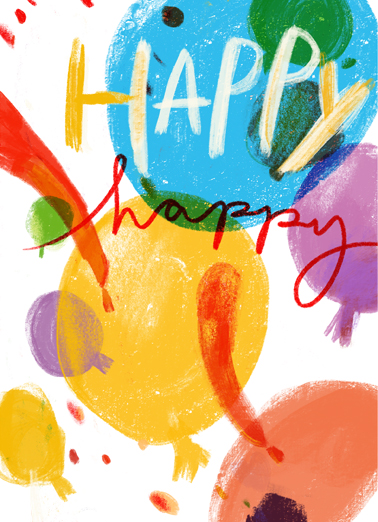 Happy Bursts Funny  Card  Send this colorful Birthday card and we'll include the FREE first-class stamp. Wishing you a wonderful Birthday