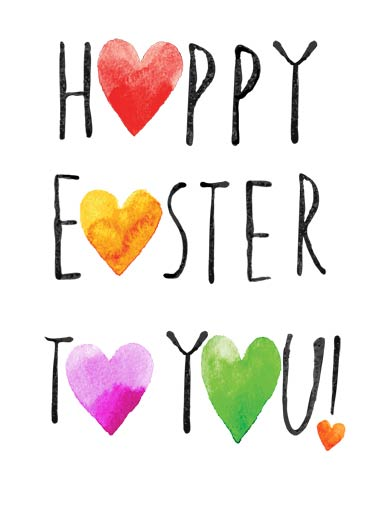 Happy Easter Hearts Funny Easter Card  A Heartfelt Easter Lettering Wish | hearts, sweet, wonderful, artistic Just a Heartfelt wish for a wonderful Easter.