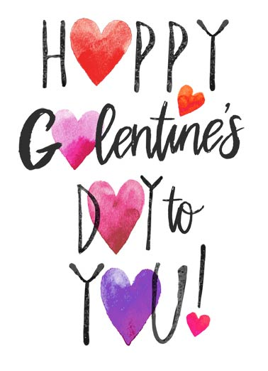 Happy Galentine's Hearts Funny Galentine's Day   Gal Pal Hearts | valentine's day, anti, gals, heartfelt, watercolor, wash, artistic, beautiful, artisan, ink, lettering, fun, lady, talking, love, friends, sister, wine  Just a heartfelt wish for a wonderful Galentine's Day.