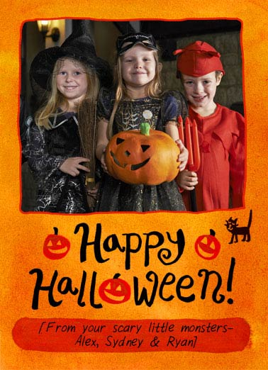 Happy Halloween Funny Halloween Card For Kid Add a photo of your own Spooky trick or treaters! | halloween, trick or treat, photo, photography, selfie, kids, fun, costumes, magic, monsters, happy, cute, design, LOL
