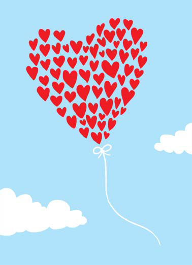 Heart Balloon Thank YOu Funny Thank You Card  thank you heart balloon cartoon illustration sky fly cloud  Thank You
