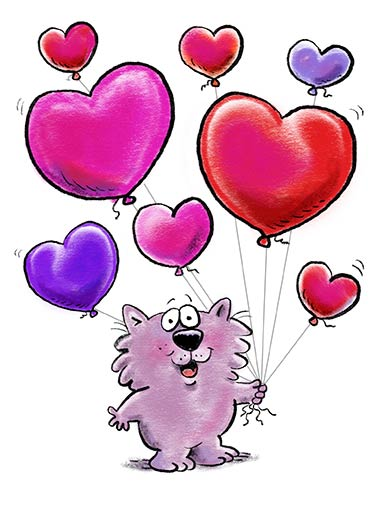 Heart Shaped Balloons  Funny Valentine's Day Card  Cute Heartwarming Critter | hearts, character, wellington, fun, sweet, love Happy Happy Valentine's Day