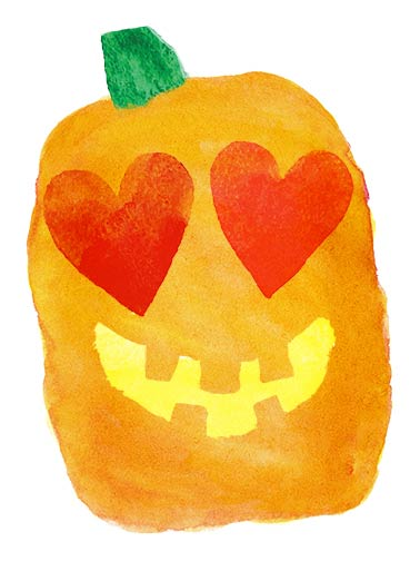 Heartfelt Halloween Funny Halloween Card  Cute Pumpkin Card | Halloween, watercolor, painting, art, wash, painting, ink, colors, hearts, love, sweet, orange, spooky, smile, happy, jack-o-lantern, pumpkins, simple, white, template, party, kids Just a heartfelt wish for a Happy Halloween.