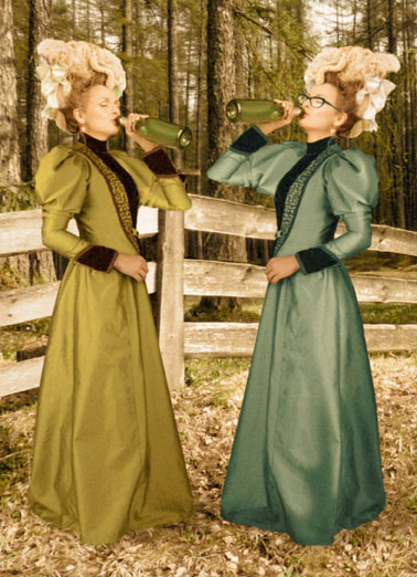 Heck With Funny Vintage   Two women drinking together outside. | drink drinking wine beer champagne fence wood woods outside fancy formal dress glasses tree trees heck cake ice cream birthday happy alcohol sip bottle earring bow victorian  To heck with cake and ice cream!