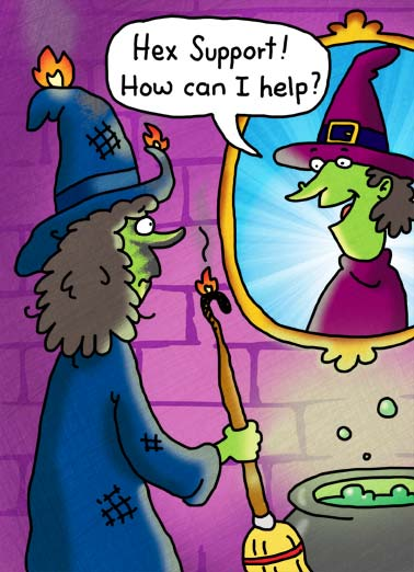 Hex Support Funny Cartoons  Halloween A picture of a witch calling another witch after her spell blew up in her face. | witch hex spell cast support halloween cat black broom cauldron fire bubbles robe magic hat wart buckle mirror ash ingredient cartoon illustration  Hope  you have all the right ingredients for a Happy Halloween!