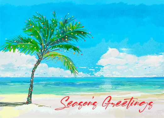 Holiday Beach Funny Christmas Card Season's Greetings This Christmas, wish all your work customers and contacts the happiest of holidays, season's greetings, and Happy New Year with this new customizable Christmas card.