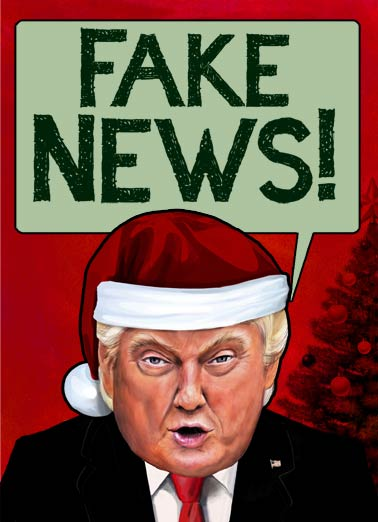 Holiday Fake News Funny Christmas Card Happy Holidays President Trump yelling Fake News because you were on 