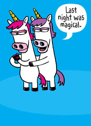 Horny Unicorn Funny Valentine's Day Card Dirty Sexy Naughty Two unicorns holding each other on Valentine's Day card | unicorn, valentine, vd, vday, pink, purple, pony, ponies, horse, horses, magic, magical, mythical, cartoon, comic, love, lover, horny, horn, sexy, dirty, naughty, sex, love. Say Happy Valentine's Day with this sweet and sexy greeting card featuring unicorns. Personalize and send a Valentine's Day wish with same-day mail and free first-class postage. Valentine, there's nothing I like more than being horny with you.