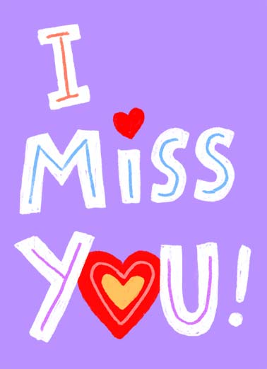 I Miss You Lots Funny Miss You Card  I miss you lots! | I miss you lots heart love lettering  ...LOTS!