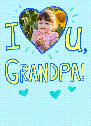 I heart grandpa Funny Father's Day Card Add Your Photo