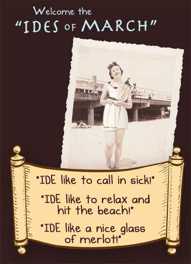 Funny For Any Time Card  Ides, March, Caesar, Toga, Vintage, Cute, Funny, Gals, Beach, (blank inside)