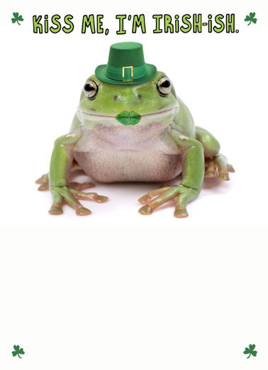 Irish Frog Funny Megan Card  Kiss me, I'm Irish-ish! | St Patrick's Day frog funny joke humorous silly kiss Irish smootch  Happy St. Patrick's Day!