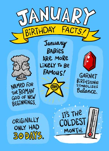 January Birthday Facts Funny January Birthday   Say Happy Birthday with this fun January Birthday facts greeting card, Fact: Only the most awesome people have January Birthdays! Happy Birthday
