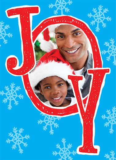 Joy Funny Christmas Card Add Your Photo Joy Photo Upload | add, photo, peace, joy, cute, picture, letter, hope, merry