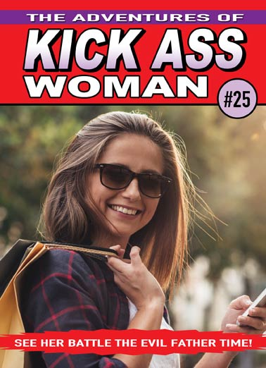Kick Ass Woman Funny Birthday Card Add Your Photo To This Custom Comic