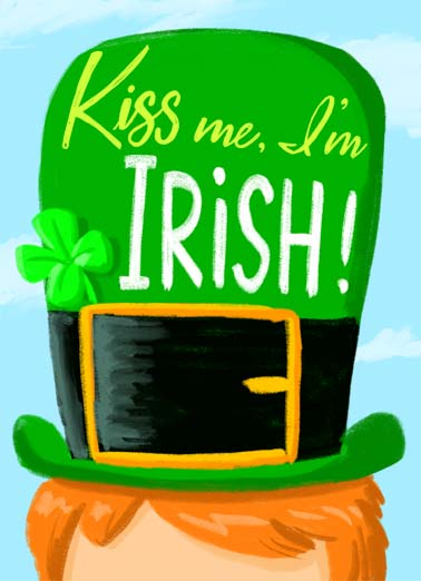 Kiss Me I'm Irish Funny St. Patrick's Day Card Cartoons Kiss me, I'm Irish. | shamrock green st. patrick's day leprechaun kiss me clover ireland cartoon illustration four-leaf Happy St. Patrick's Day