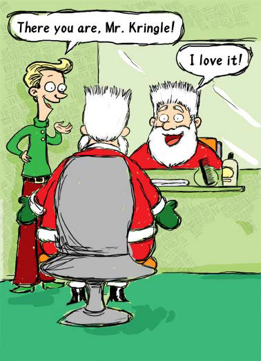 Kris Mousse Funny Christmas  Christmas Wishes Santa gets a fancy new hairstyle thanks to a barber elf and some mousse. | Santa hair cut haircut mousse comb barber elf Mr. Kringle Christmas xmas snow presents Merry Kris Mousse!