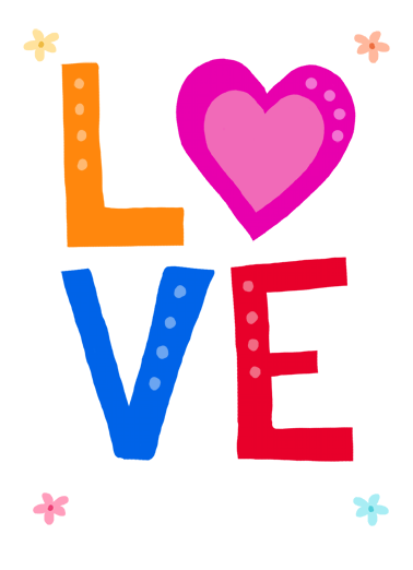 LOVE Heart Lettering Funny For Mom  Love   Happy Mother's Day with Lots of Love!