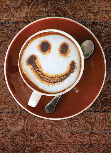 Thanks in Coffee Funny 5x7 greeting Card  Thanks a late! | coffee latte design smile thanks thank you spoon cup mug fun   Thanks a latte!